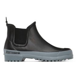Stutterheim Black and Grey Rainwalker Chelsea Boots 1785
