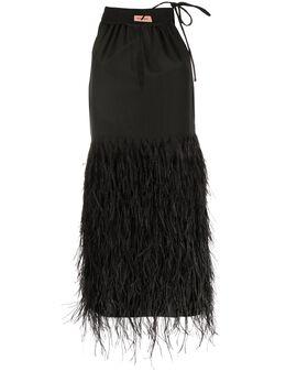 Yves Salomon платье мини с перьями 20EYR05083SEPW