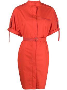 Yves Salomon платье с короткими рукавами и поясом 20EYR03996COXW