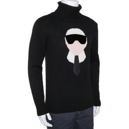 Fendi Black Cashmere Intarsia Knit Karlito Turtleneck Sweater M 287788