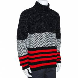 Burberry Tricolor Contrast Striped Knit Turtleneck Sweater M 287795