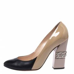 Casadei Beige/Black Patent And Leather Chain Motif Heel Round Toe Pumps Size 36 289486