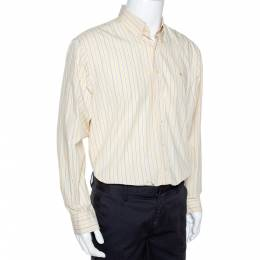 Burberry Yellow Striped Cotton Button Down Long Sleeve Shirt XL 289524
