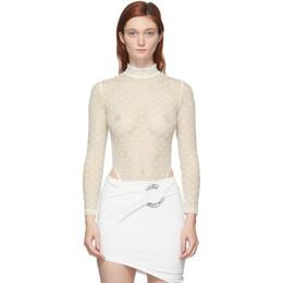 Misbhv Off-White Monogram Mesh Long Sleeve Bodysuit 020W104
