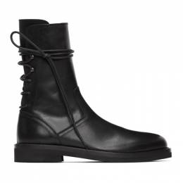 Ann Demeulemeester Black Leather Back Lace-Up Boots 2013-4202-390-099