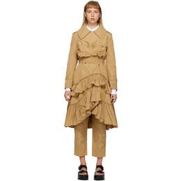 Simone Rocha Tan Frilled Trench Coat 3289 0355 TRENCH