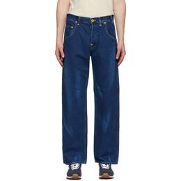 Junya Watanabe Indigo Levis Edition Linen Print Jeans WE-P905-100