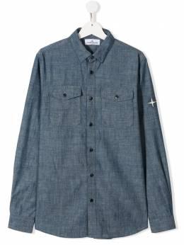 Stone Island Junior рубашка с вышитым логотипом MO721610202
