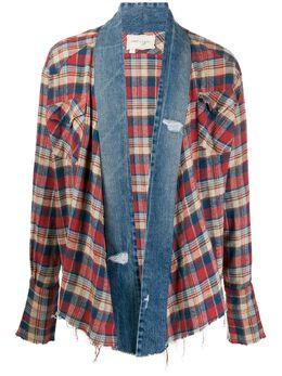 Greg Lauren клетчатая куртка-рубашка с джинсовыми вставками SS20M126