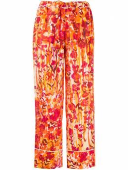 Marni брюки с кулиской и цветочным принтом PAMAN24I00TSF37