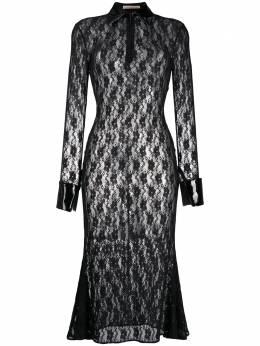 Christopher Kane платье миди из цветочного кружева PF20DR3572FLOWERSTRETCHLACEBLACK