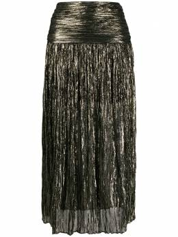 Saint Laurent юбка миди с эффектом металлик 615548Y019Q