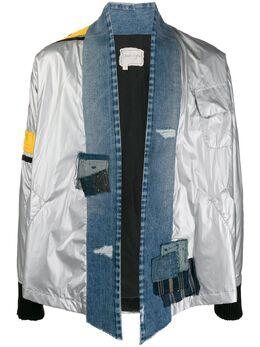 Greg Lauren куртка-рубашка со вставками из денима SS20M021