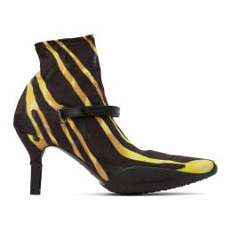 Marine Serre Black and Yellow Jersey Sock Ankle Heel Boots F004SS20W