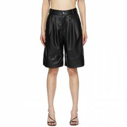 Markoo Black Faux-Leather The Pleats Shorts S20-060L1-001