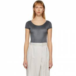 Lemaire Grey Velvet Jersey Cap Sleeve Bodysuit W 202 JE400 LJ051