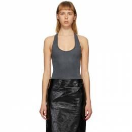 Lemaire Grey Velvet Jersey Sleeveless Bodysuit W 202 JE295 LJ051