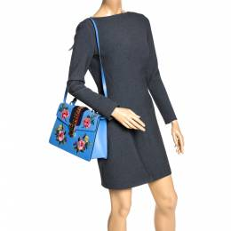 Gucci Blue Floral Embroidered Leather Medium Sylvie Top Handle Bag 289783