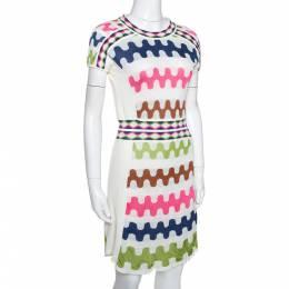 M Missoni Off White Wavy Patterned Linen Blend Knit Dress M 289670