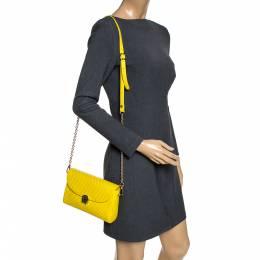 Aigner Yellow Embossed Leather Genoveva Crossbody Bag 289663