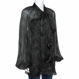 Roberto Cavalli Dark Green Printed Silk Fur Tie Detail Sheer Blouse L 289756