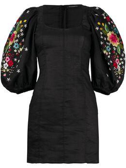 Wandering платье мини с цветочной вышивкой WGS20417