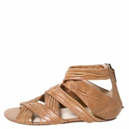 Prada Tan Pleated Leather Caged Flat Sandals Size 39 289906