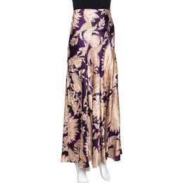 Roberto Cavalli Imperial Purple Floral Printed Silk Flared Skirt L 289677