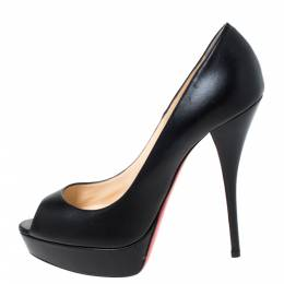 Christian Louboutin Black Leather Lady Peep Toe Platform Pumps Size 41 289935