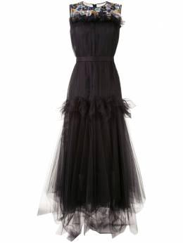 Delpozo вечернее платье из тюля с цветочной отделкой 4200607202