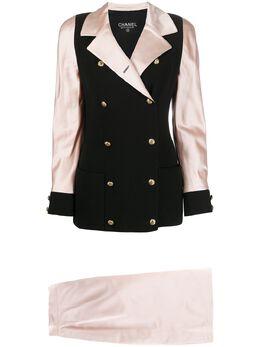 Chanel Pre-Owned костюм-двойка 1990-х годов с контрастными вставками DPGMCHASUIT2