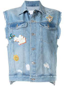 Sjyp джинсовый жилет с нашивками PW2A3NVT019W