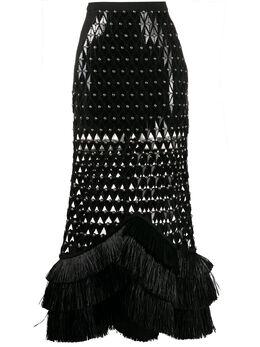 David Koma юбка с резным узором и заклепками SS20DK34S