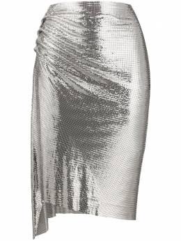 Paco Rabanne юбка со сборками и эффектом металлик 19EIJU015MH0062