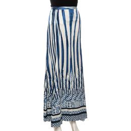 Roberto Cavalli Blue Abstract Stripe Printed Silk Flared Maxi Skirt L 290032