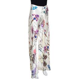 Roberto Cavalli Cream Floral Printed Silk Flared Pants M 289594