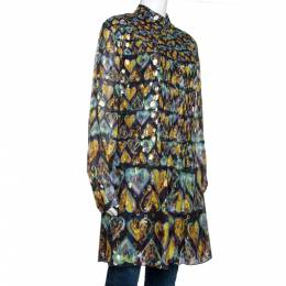 Roberto Cavalli Multicolor Printed Silk Lurex Detail Pleated Tunic L 289882
