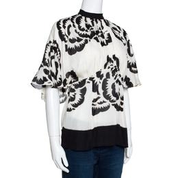 Roberto Cavalli Monochrome Printed Silk Open Back Blouse L 289984