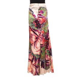 Roberto Cavalli Pink Macro Floral Printed Silk Satin Maxi Skirt L 289695