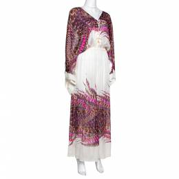 Roberto Cavalli White & Pink Feather Printed Silk Maxi Kaftan Dress M 289681