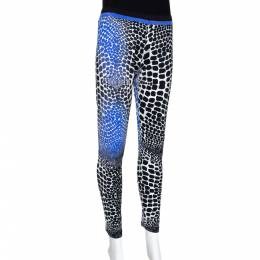 Roberto Cavalli Black & Blue Animal Print Stretch Knit Leggings L 290027