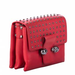 Alexander McQueen Red Leather Studded Twin Skull Crossbody Bag 289440