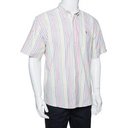 Ralph Lauren White Striped Cotton Short Sleeve Shirt XL 289851