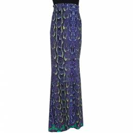Roberto Cavalli Purple Snakeskin Printed Stretch Jersey Maxi Skirt L 290041
