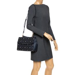 Michael Kors Navy Blue Studded Leather Medium Ava Top Handle Bag 290534