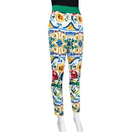 Dolce&Gabbana Majolica Printed Silk Elasticized Waist Skinny Pants L 289975