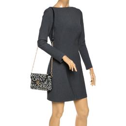 Aigner Black/White Coated Canvas Zoe Flap Crossbody Bag 290506