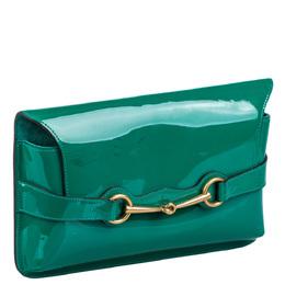 Gucci Green Patent Leather Bright Bit Clutch Bag 287032
