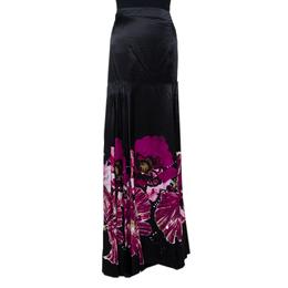 Roberto Cavalli Black & Fuschia Floral Printed Silk Pleated Detail Maxi Skirt L 290048