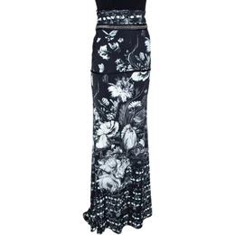 Roberto Cavalli Monochrome Floral Printed Stretch Jersey Maxi Skirt L 289690